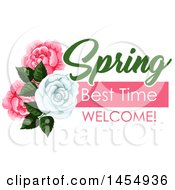 White And Pink Rose Spring Time Flower Design Element