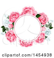 Clipart Of A White And Pink Rose Flower Design Element Royalty Free Vector Illustration