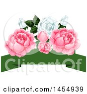 White And Pink Rose Flower Design Element