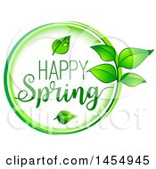Green Leaf And Happy Spring Design Element