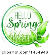 Clipart Of A Green Leaf And Hello Spring Design Element Royalty Free Vector Illustration