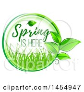 Green Leaf And Spring Is Here Design Element