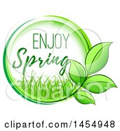 Green Leaf And Enjoy Spring Design Element