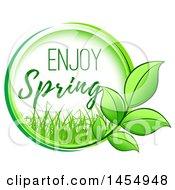 Poster, Art Print Of Green Leaf And Enjoy Spring Design Element