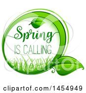 Green Leaf And Spring Is Calling Design Element