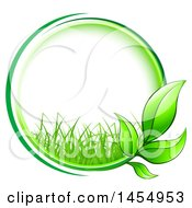 Clipart Of A Green Leaf And Grass Frame Eco Design Element Royalty Free Vector Illustration by Vector Tradition SM
