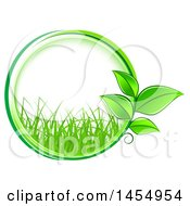 Poster, Art Print Of Green Leaf And Grass Frame Eco Design Element