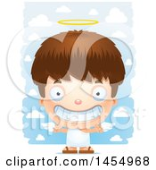 Clipart Graphic Of A 3d Grinning White Angel Boy Over Clouds Royalty Free Vector Illustration