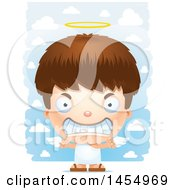 Poster, Art Print Of 3d Mad White Angel Boy Over Clouds