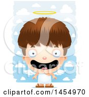 Poster, Art Print Of 3d Happy White Angel Boy Over Clouds