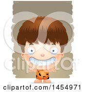 Clipart Graphic Of A 3d Grinning White Caveman Boy Over Strokes Royalty Free Vector Illustration