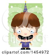 Clipart Graphic Of A 3d Happy White Wizard Boy Over A Spiral And Star Pattern Royalty Free Vector Illustration