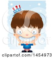 Clipart Graphic Of A 3d Grinning White American Uncle Sam Boy Against Strokes Royalty Free Vector Illustration