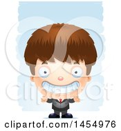 Clipart Graphic Of A 3d Grinning White Business Boy Against Strokes Royalty Free Vector Illustration