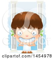 Poster, Art Print Of 3d Grinning White Greek Boy With Columns