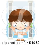 Poster, Art Print Of 3d Mad White Greek Boy With Columns