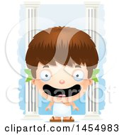 Clipart Graphic Of A 3d Happy White Greek Boy With Columns Royalty Free Vector Illustration