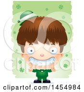 3d Grinning White Irish Boy Over St Patricks Day Shamrocks