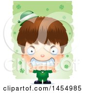 3d Mad White Irish Boy Over St Patricks Day Shamrocks