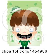 3d Happy White Irish Boy Over St Patricks Day Shamrocks