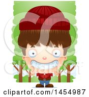 Clipart Graphic Of A 3d Grinning White Lumberjack Boy In The Woods Royalty Free Vector Illustration