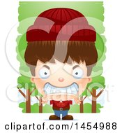 Poster, Art Print Of 3d Mad White Lumberjack Boy In The Woods