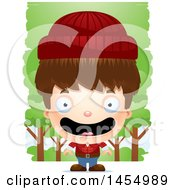 Clipart Graphic Of A 3d Happy White Lumberjack Boy In The Woods Royalty Free Vector Illustration
