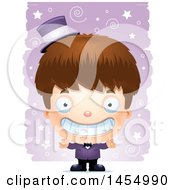 Clipart Graphic Of A 3d Grinning White Magician Boy Over A Spiral And Star Pattern Royalty Free Vector Illustration