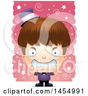 Clipart Graphic Of A 3d Mad White Magician Boy Over A Spiral And Star Pattern Royalty Free Vector Illustration