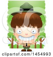 Clipart Graphic Of A 3d Grinning White Park Ranger Boy In The Woods Royalty Free Vector Illustration