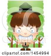 Clipart Graphic Of A 3d Mad White Park Ranger Boy In The Woods Royalty Free Vector Illustration