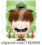 Clipart Graphic Of A 3d Happy White Park Ranger Boy In The Woods Royalty Free Vector Illustration