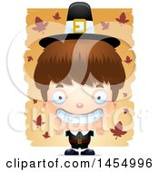 Clipart Graphic Of A 3d Grinning White Pilgrim Boy Over Leaves Royalty Free Vector Illustration