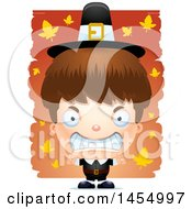 Clipart Graphic Of A 3d Mad White Pilgrim Boy Over Leaves Royalty Free Vector Illustration