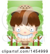 Clipart Graphic Of A 3d Grinning White Safari Boy Against Trees Royalty Free Vector Illustration