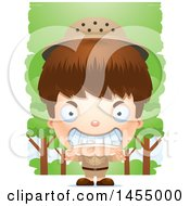 Clipart Graphic Of A 3d Mad White Safari Boy Against Trees Royalty Free Vector Illustration