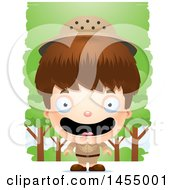 Clipart Graphic Of A 3d Happy White Safari Boy Against Trees Royalty Free Vector Illustration