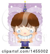 Clipart Graphic Of A 3d Grinning White Wizard Boy Over A Spiral And Star Pattern Royalty Free Vector Illustration