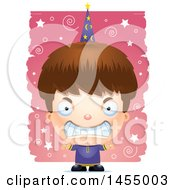 Clipart Graphic Of A 3d Mad White Wizard Boy Over A Spiral And Star Pattern Royalty Free Vector Illustration