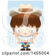 Clipart Graphic Of A 3d Grinning White Boy Cowboy Sheriff Over Strokes Royalty Free Vector Illustration
