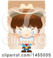 Clipart Graphic Of A 3d Mad White Boy Cowboy Sheriff Over Strokes Royalty Free Vector Illustration