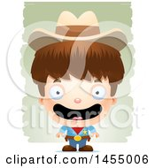 Clipart Graphic Of A 3d Happy White Boy Cowboy Sheriff Over Strokes Royalty Free Vector Illustration