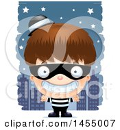 Poster, Art Print Of 3d Grinning White Robber Boy Against A City At Night