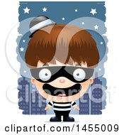 Clipart Graphic Of A 3d Happy White Robber Boy Against A City At Night Royalty Free Vector Illustration