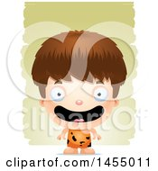 Clipart Graphic Of A 3d Happy White Caveman Boy Over Strokes Royalty Free Vector Illustration