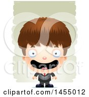 Clipart Graphic Of A 3d Happy White Business Boy Against Strokes Royalty Free Vector Illustration by Cory Thoman