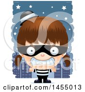 Clipart Graphic Of A 3d Mad White Robber Girl Against A City At Night Royalty Free Vector Illustration
