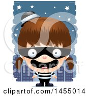 Clipart Graphic Of A 3d Happy White Robber Girl Against A City At Night Royalty Free Vector Illustration