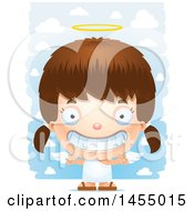Clipart Graphic Of A 3d Grinning White Angel Girl Over Clouds Royalty Free Vector Illustration