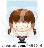 Clipart Graphic Of A 3d Grinning White Business Girl Against Strokes Royalty Free Vector Illustration